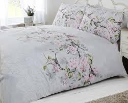 Bedroom Decor Duck Egg Blue Bird Blossom Floral Duvet Quilt Cover Bedding Set Grey Pink U0026 Duck