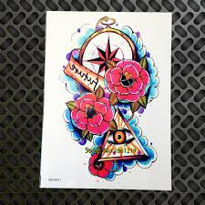 1pc waterproof punk tattoo stickers guns n roses tattoo for men