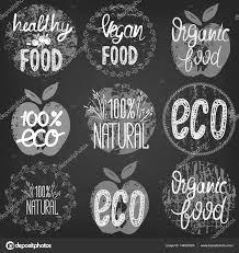 set healthy food eco food organic food 100 natural hand drawn