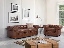 Chesterfield Style Sofa by Leather Armchair Quilted Club Chair Carmen Antique Brown