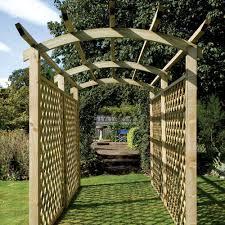 grange appleby walkway pergola with trellis side panels fsc timber