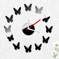 compare prices digital wall clock mirror decal modern online creative butterflies wall clock modern design stickers set diy mirror effect acrylic glass decal home