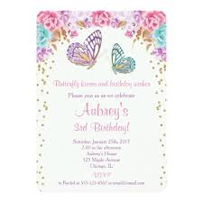 butterfly invitations butterfly birthday invitation pink purple gold card zazzle