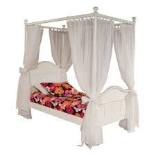 bedroom twin white wood canopy bed with plush curtain for girls