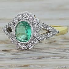 emerald rings uk mid century emerald diamond split shank cluster circa 1950