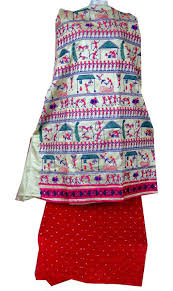 buy designer bandhani warli dress material bandhej in cotton silk