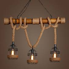 Three Pendant Light Fixture Vintage Pendant Light Bamboo Three Rope Pendant L