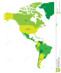 Map Of South America And North America by Political Map Of Americas In Four Shades Of Green On White