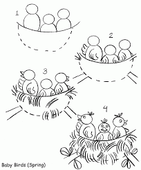 coloring pictures of bird nests spring tree birds build nests