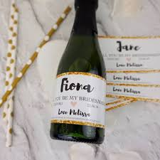 Will You Be My Maid Of Honor Ideas Will You Be My Bridesmaid Mini Champagne Label B And G By Tailored