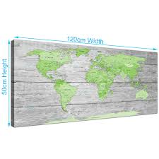 World Map Canvas Large Lime Green Grey World Map Atlas Canvas Wall Art Print