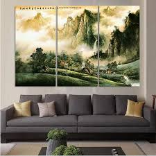 Livingroom Restaurant 3pcs Chinese Traditional Landscape Oil Painting Print On Canvas