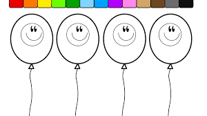 learn colors for kids and color this fun smiley face balloon