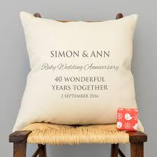 40 wedding anniversary gift personalised ruby wedding anniversary cushion by a type of design