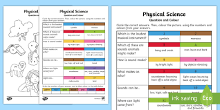 year 1 physical science questions and colouring activity sheets