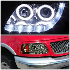 led strip lights headlights 03 ford f150 expedition angel eye led strip projector headlights