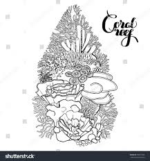 sea plants coloring pages coral reef line art style ocean stock vector 358073996 shutterstock