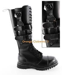 womens size 12 black combat boots demonia predator i s black leather steel toe combat knife