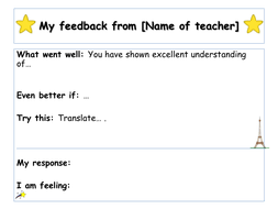 feedback template by prof de francais teaching resources tes