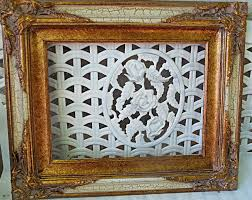fancy wood frame crackle finish white gold ornate corners