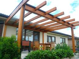 Attaching Pergola To House by Modern Pergola Attached To House Using Solid Wood With Black