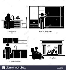 pictogramme chambre accueil chambre meubles intégrés stick figure icône pictogramme