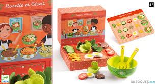 jeux de cuisine salade rosette et césar le marchand de salades jouets en bois djeco