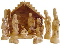 carversart traditional olive wood nativity set with stable