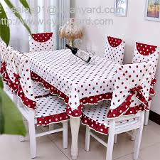 Dining Room Linens Cotton Red Dot Tablecloth And Chair Cover Set For 6 Seater China