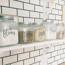 Clear Plastic Kitchen Canisters Food Canister Labels Kitchen Pantry Labels Hand Lettered Jar