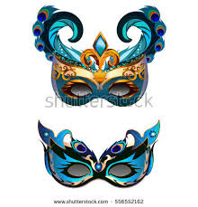 carnival masks carnival masks set feather isolated on stock vector 556552162