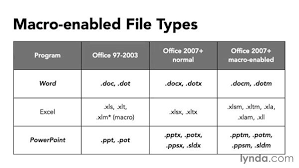using macro enabled file types