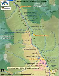 Map Colorado by Arkansas River Numbers And Narrows Sections Colorado River Map