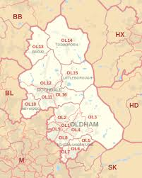map of oldham ol postcode area