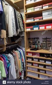 organized home walk in closet usa stock photo royalty free image