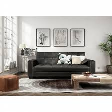 dorel edison futon with arm storage and usb power outlet black