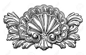 heraldry clam shell sketch calligraphic drawing isolated on white
