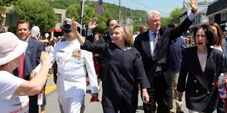 hillary bill clinton march in chappaqua memorial day parade