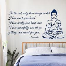 quotes on home design meditating buddha wall decals quote home interior design art word
