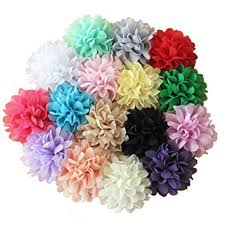 flower hairband aisila 16 pieces 4 different colors handmade chiffon