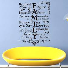 wall ideas vinyl wall art stickers large family rules wall