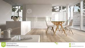 white minimalist interior with dining table stock photo image