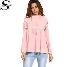 baby doll blouses sheinside pink mock neck lace applique babydoll top
