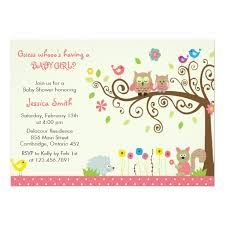 pink owl baby shower invitation card