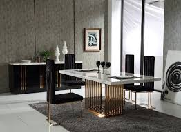 six black leather backrest dining chair white modern dining room
