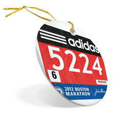 running porcelain ornament your race bib on a custom full bib