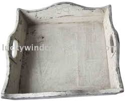 shabby chic white wash handmade wood decorative trays for ottomans