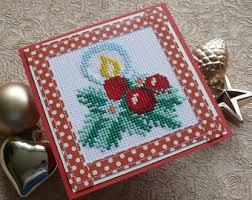 cross stitch card etsy