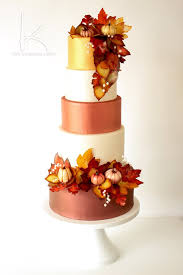 fall wedding cake with edible leaves and pumpkins kara u0027s couture