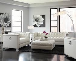 White Sofa Sets Leather Chaviano Collection 505391 Sofa Set Pearl White Contemporary
